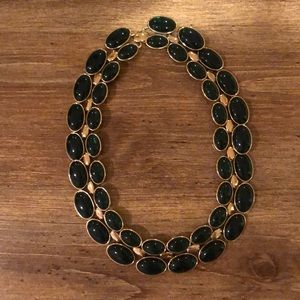 Green and gold tone statement necklace